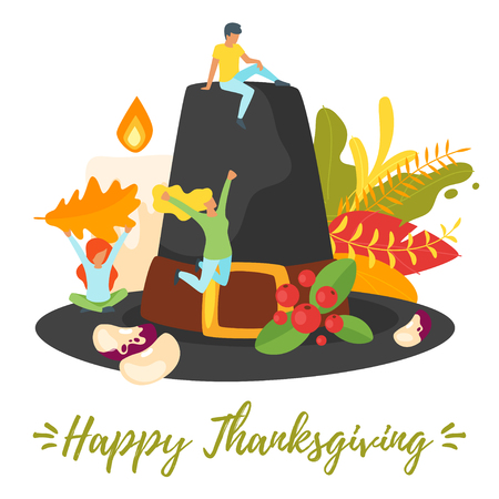 Vector flat style illustration of Thanksgiving symbols with people silhouettes in different poses. Minimalism design with exaggerated objects. Floral elements at background. greeting card template. 일러스트