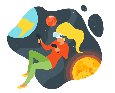 Vector flat style illustration of woman silhouette in virtual reality glasses. Space background with planets of solar system. Minimalism design. VR for education, game and explore.