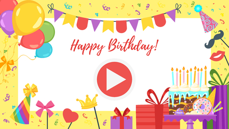 Vector cartoon style video and photo frame background for editing. Birthday party background.