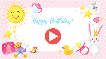 Vector cartoon style video and photo frame background for editing. Baby shower background.