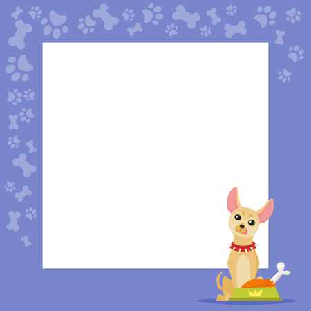 Vector cartoon style video and photo frame background for editing.  Cute dog - chihuahua on the border with tasty bones and paws footprints. Ilustração