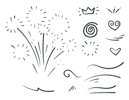 Vector hand drawn collection of curly swishes, swashes, swoops. Calligraphy swirl. Highlight text elements. Vector Illustration