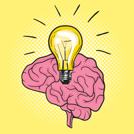 Vector illustration of pop art light bulb over the brain. Concept of new idea. Hand drawn sign. Illustration for print, web. Dotted yellow background. 矢量图像