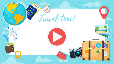 Vector cartoon style video and photo frame background for editing. Travel and tourism background with trip symbols.
