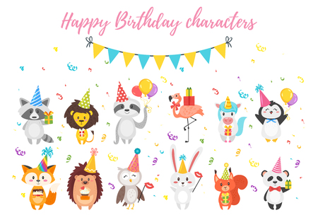 Vector cartoon style set of cute animals in festive cone hats and presents. White background.