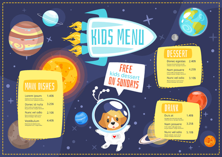 Vector cartoon style design for kids menu with cute character animal - space dog and planets of solar system. Children menu meal template. Cosmos background with stars. Illustration