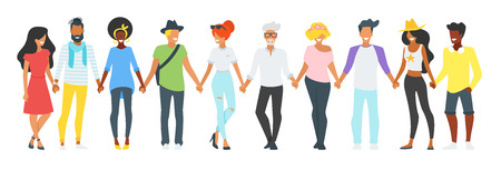 Vector flat style minimalism illustration of different people silhouettes standing in a row, holding hands of each other and smiling. Concept for multicultural and multiracial friendship. Ilustração