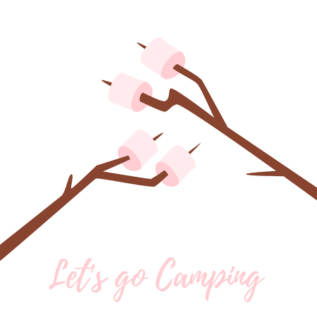 Vector cartoon style illustration of marshmallows on stick. White background. Lets go camping text. Illustration