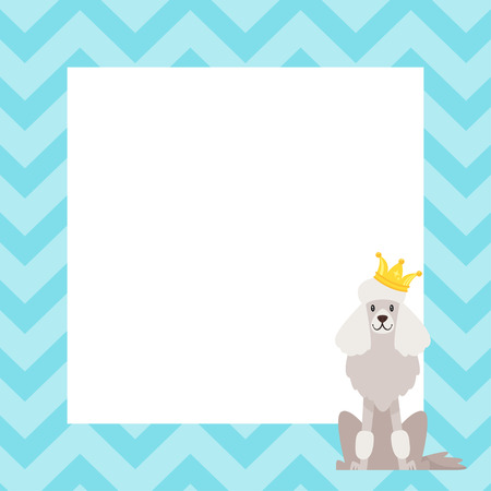 Vector cartoon style video and photo frame background for editing. Cute dog - poodle with golden crown.