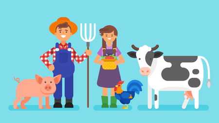 Vector flat style illustration of cow, farmers man and woman and other rural animals. Isolated on blue background.
