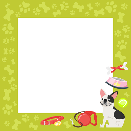 Vector cartoon style video and photo frame background for editing. Cute dog - french bulldog on the border with doggy paws footprints and tasty bones.