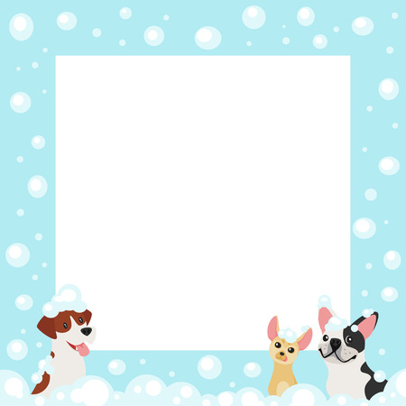 Vector cartoon style video and photo frame background for editing. Cute dogs on the border with soap bubbles. Illustration