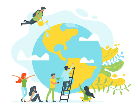 Vector flat style concept for environment protection and ecology. People silhouettes in different poses around planet Earth. Minimalism design with exaggerated objects. Floral elements at background. Illustration