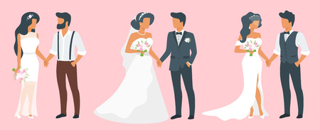 Vector flat style set of three couples in love. Marriage ceremony day. Man in suit and woman in wedding dress standing together and holding hands. Classical, fashion and hipster style of clothes. Ilustração