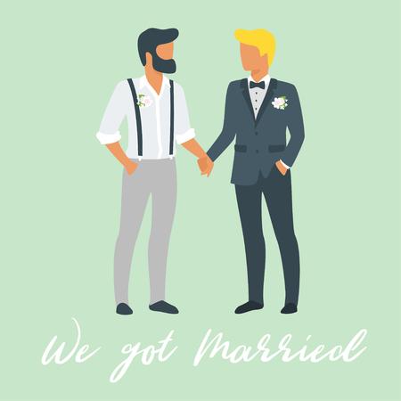 Ilustración de estilo plano de vector de dos jóvenes en trajes - pareja del mismo sexo. Concepto de matrimonio y plantilla de invitación.