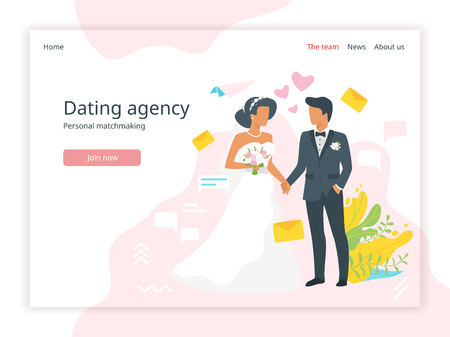 Vector flat style illustration of man in suit and woman in wedding dress standing and holding hands. Marriage day. Bridal agency landing page template. Minimalism design with exaggerated objects.