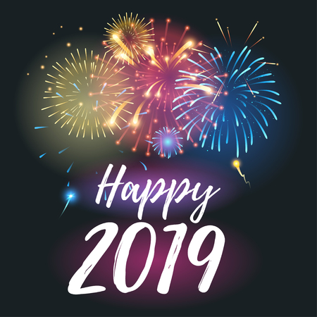 Vector realistic Happy New 2019 Year greeting card template with colorful fireworks.