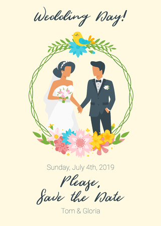 Vector flat style illustration of man in suit and woman in wedding dress standing and holding hands. Marriage day. Classical style of clothes. Save the date invitation template. Floral wreath.
