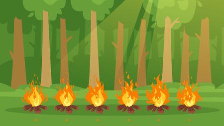 Vektor-Cartoon-Stil-Set von Spiel-Lagerfeuer-Sprites für Animation. Game User Interface (GUI)-Element für Videospiele, Computer oder Webdesign. Lagerfeuer brennende Rahmen. Grüner Waldhintergrund.