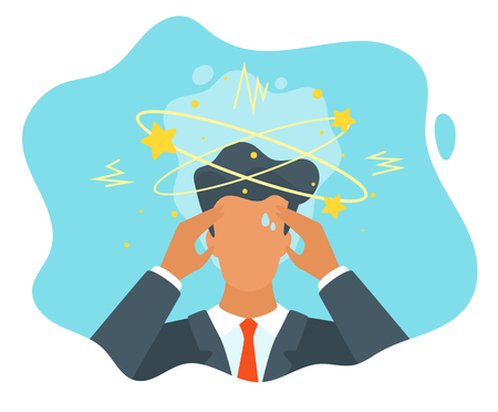 Wektor biznesmen płaski kłopoty z myśleniem. Brak koncepcji pomysłu. Mężczyzna z gwiazdami wirującymi wokół jego głowy.