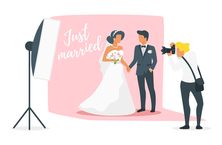 Vector flat style illustration of man in suit and woman in wedding dress standing and holding hands. Marriage day photo session. Photographer shoots just married in studio with shooting equipment. Çizim