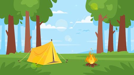 Vector cartoon stijl achtergrond met bos en kampvuur. Goede zonnige dag. Vector Illustratie