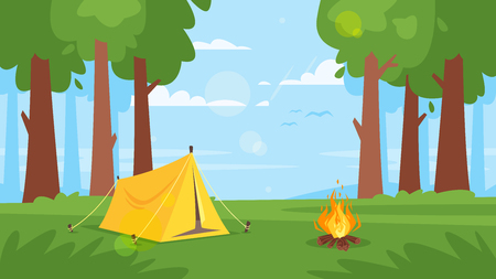 Vector cartoon style background with forest and camp fire. Good sunny day. Stock Illustratie