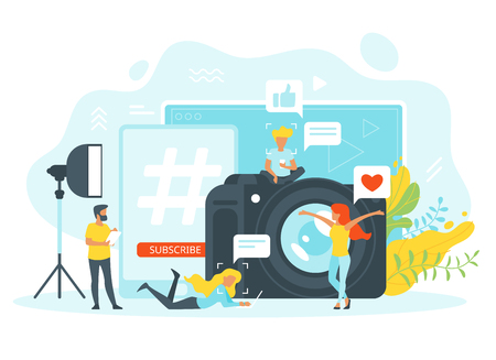 Vector flat style concept for freelance and blogging. People silhouette in different poses in front of photo camera and laptop. Minimalism design with exaggerated objects. Floral elements at the back.