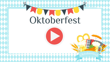 Vector cartoon style Oktoberfest video and photo frame background or photo both for editing. Beer festival layout.