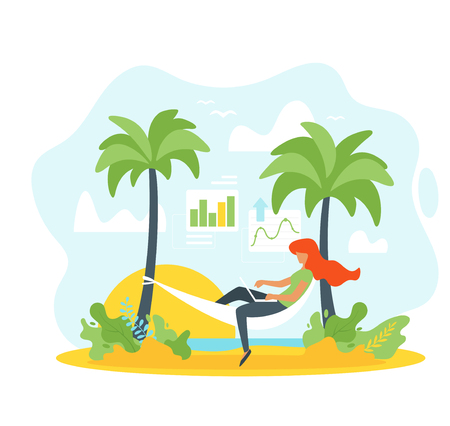 Vector flat style concept for freelance and remote work. Woman silhouette relaxes in a hammock and working with laptop. Minimalism design with exaggerated objects. Sea and tropic island background.