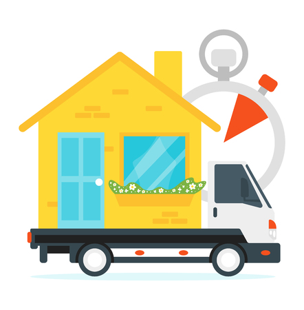 Vector flat style concept for moving home and relocation. Minimalism design with exaggerated objects. Logistics concept: truck transports house in time.