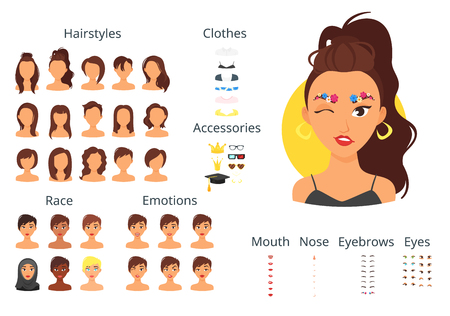 Vector cartoon style woman avatar constructor with different face items: lips, noses and haircuts. Ilustração