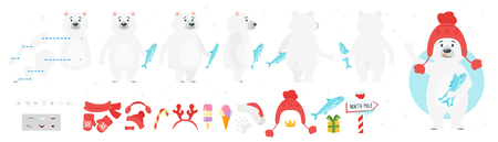 Vector cartoon style polar bear character for animation. Different emotions and winter symbols. Isolated on white background. Illusztráció