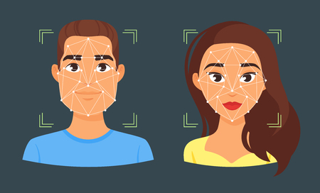 Vector cartoon style face biometric identification illustration. Concept for web and mobile secure technology, facial identification. Man and woman avatar.