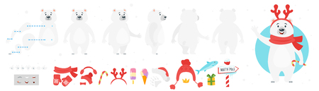 Vector cartoon style polar bear character for animation. Different emotions and winter symbols. Isolated on white background. Иллюстрация