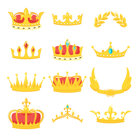 Vector cartoon style set of royal crowns. Decoration item for your selfie photo and video chat filter. Isolated on white background.