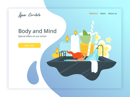 Vector flat style illustration of young woman in spa salon, taking bath. Aromatherapy candles, flowers and fresh cocktail at the background. Landing page template. Иллюстрация