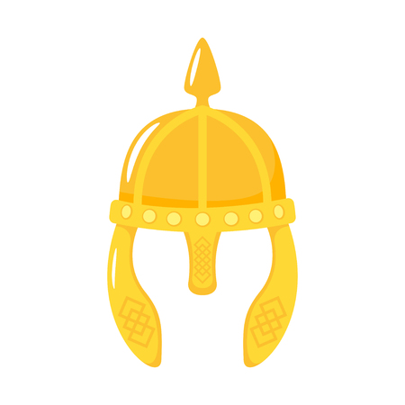 Vector cartoon style viking in horned helmet face element or carnival mask. Decoration item for your selfie photo and video chat filter. Isolated on white background.