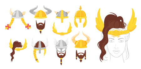 Vector cartoon style set of viking face element or carnival mask. Decoration item for your selfie photo and video chat filter. Viking horned helmets and beards. Isolated on white background. Ilustracja