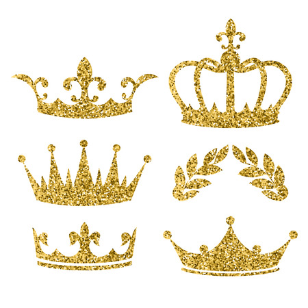 Vector cartoon style set of royal crowns  with golden glitter effect. Decoration item for your selfie photo and video chat filter. Isolated on white background.
