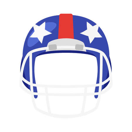 Vector cartoon style American football helmet face element or carnival mask. Decoration item for your selfie photo and video chat filter. American symbols. Isolated on white background.