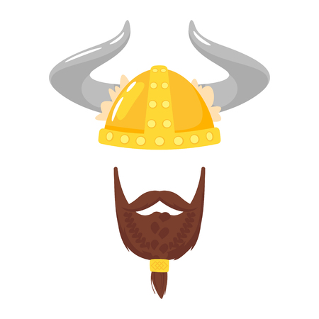 Vector cartoon style viking in horned helmet with beard face element or carnival mask. Decoration item for your selfie photo and video chat filter. Isolated on white background.