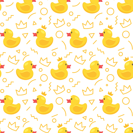 Vector cartoon style seamless pattern with yellow rubber duck and crowns on white background.