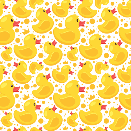 Vector cartoon style seamless pattern with yellow rubber duck on white background.