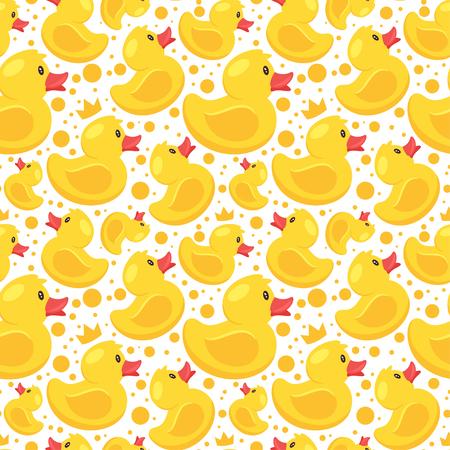Wektor wzór stylu cartoon z żółtą gumową kaczką na białym tle.