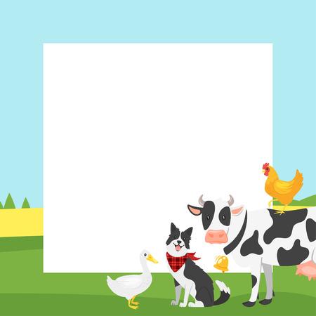 Vector video in stile cartone animato rurale e sfondo cornice foto o foto entrambi per la modifica. Layout di animali da fattoria. Composizione quadrata.