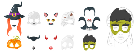 Vector cartoon style set of spooky face element or carnival mask. Halloween decoration item for your selfie photo and video chat filter. Isolated on white background. Illustration