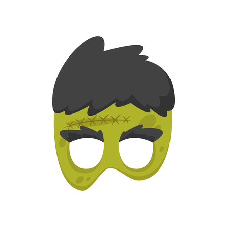 Vector cartoon style green zombie face element or carnival mask. Halloween decoration item for your selfie photo and video chat filter. Isolated on white background. Illusztráció
