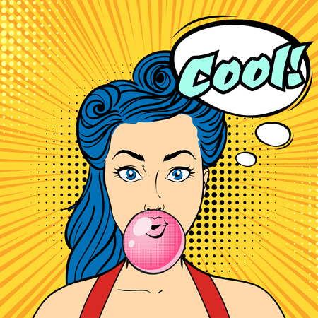 Vector pop art beautiful woman face with speech bubble chewing bubble gum. Retro style.