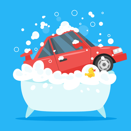 Vector cartoon style illustration of red car in bath tub full of soap foam. Yellow rubber duck in bathtub. Car wash concept. Illustration